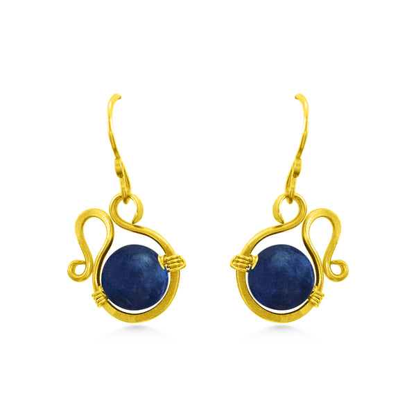 Blue and gold earrings, sodalite gemstones, bohemian wedding - Dancing Moon
