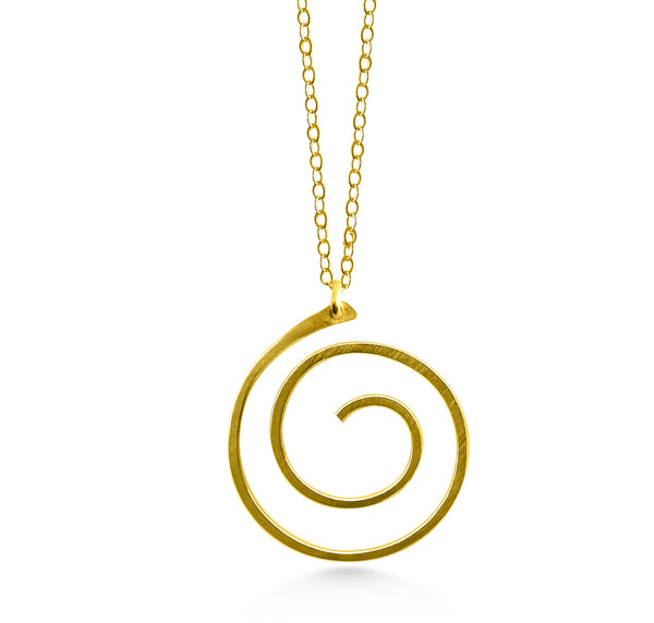 Gold Spiral Pendant - Dancing Moon