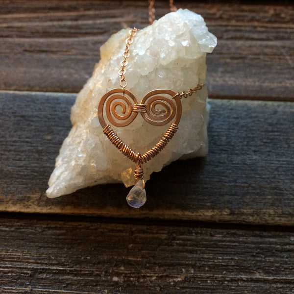 Tiny Heart Necklace, rose gold fill, moonstone, boho necklace