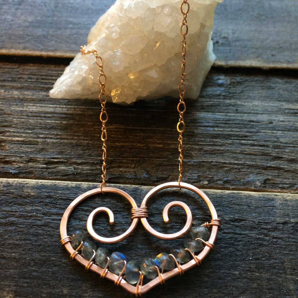 Heart Necklace, Rose Gold Filled, Labradorite - Dancing Moon