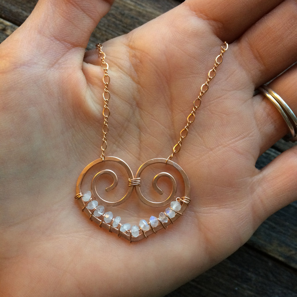 Heart Necklace, Rose Gold Filled, Moonstone - Dancing Moon
