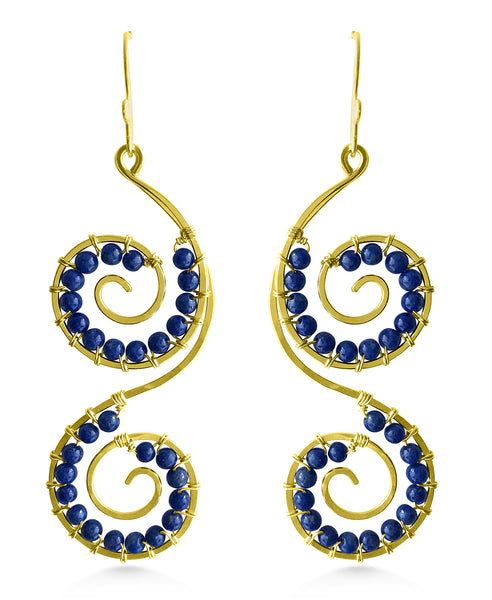 Double Spiral Earrings, Lapis Lazuli, Bohemian Bridal - Dancing Moon