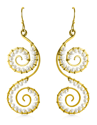 Double Spiral Earrings, Freshwater Pearls, Bohemian Bridal - Dancing Moon