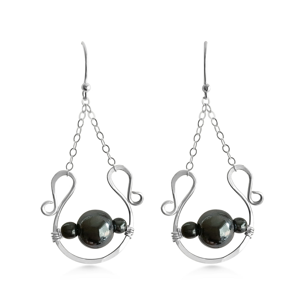 Silver Hematite Earrings - Dancing Moon