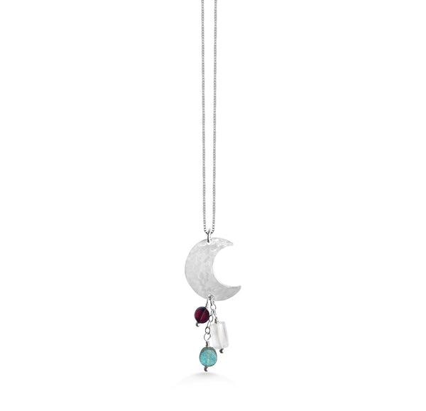 Gemstone Crescent Moon Necklace - Dancing Moon