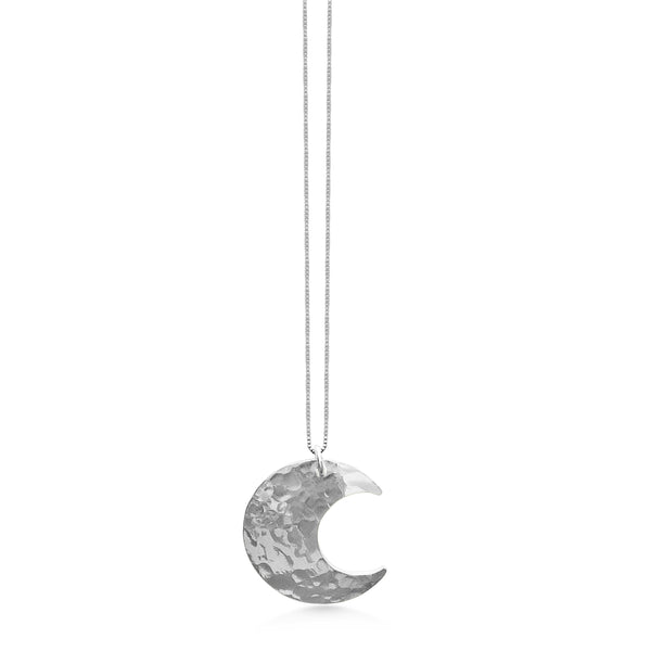 Crescent Moon Necklace, Large Size hammered sterling silver, moon jewelry - Dancing Moon