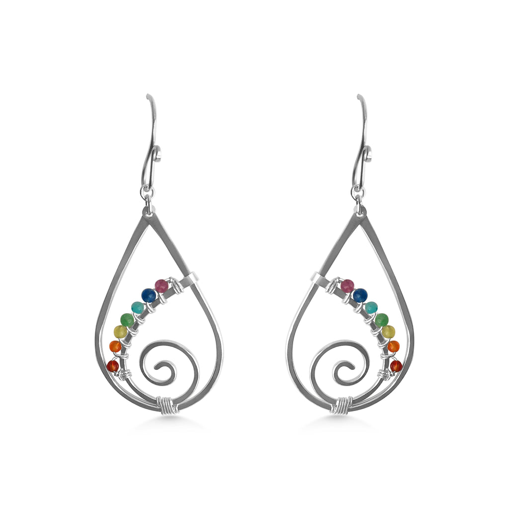 Chakra Raindrop Spiral Earrings - Dancing Moon