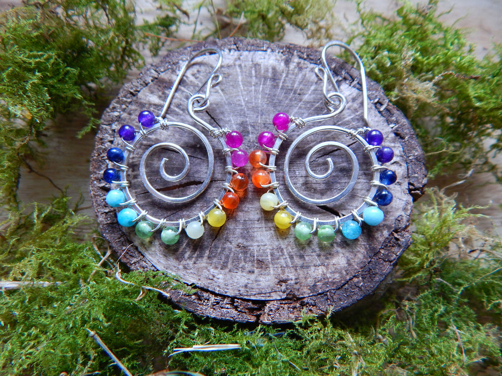 Spiral Earrings, Chakra Yoga Jewelry - Dancing Moon