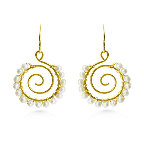 Pearl Spiral Earrings, Wedding Jewelry - Dancing Moon