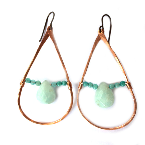 Copper and Blue Teardrop Earrings - Dancing Moon