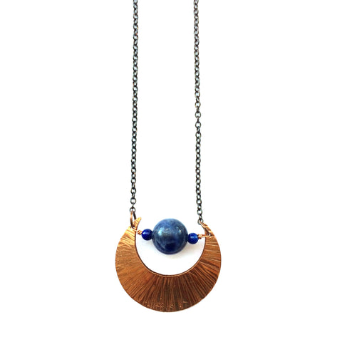 Blue Moon Necklace, Copper and Sodalite, Bohemian - Dancing Moon