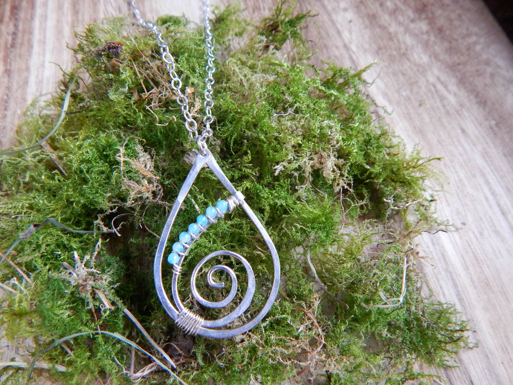 Raindrop Spiral with Amazonite blue gemstones and sterling silver - Dancing Moon - 1