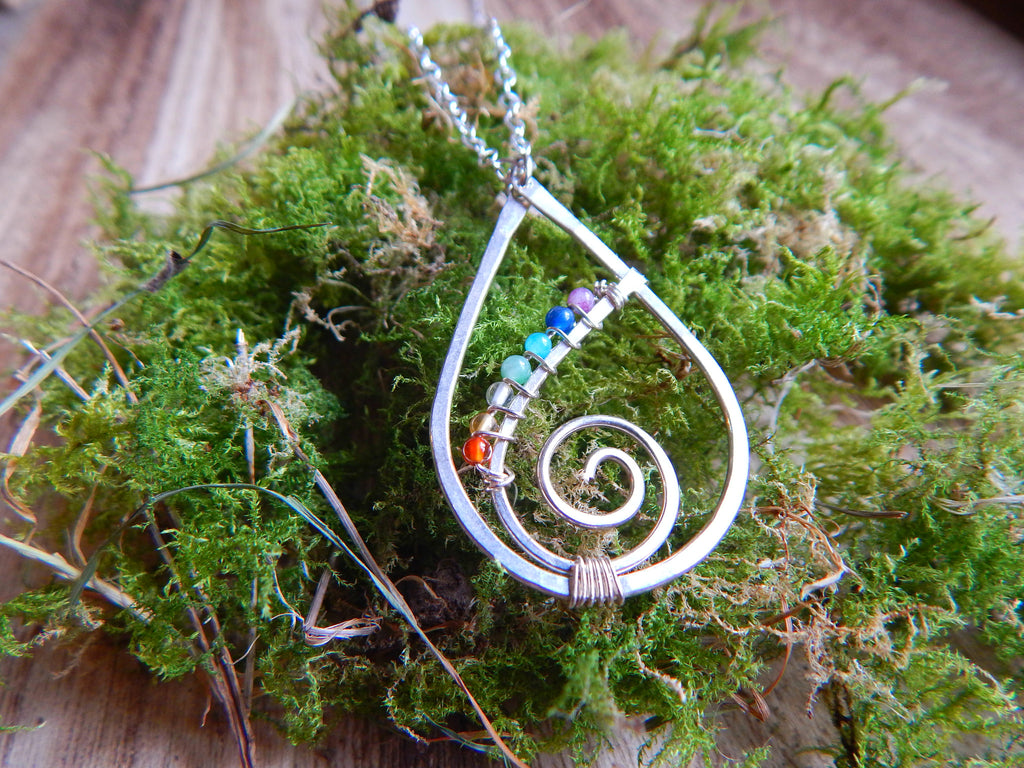 Chakra raindrop spiral pendant with sterling silver and tiny gemstones - Dancing Moon