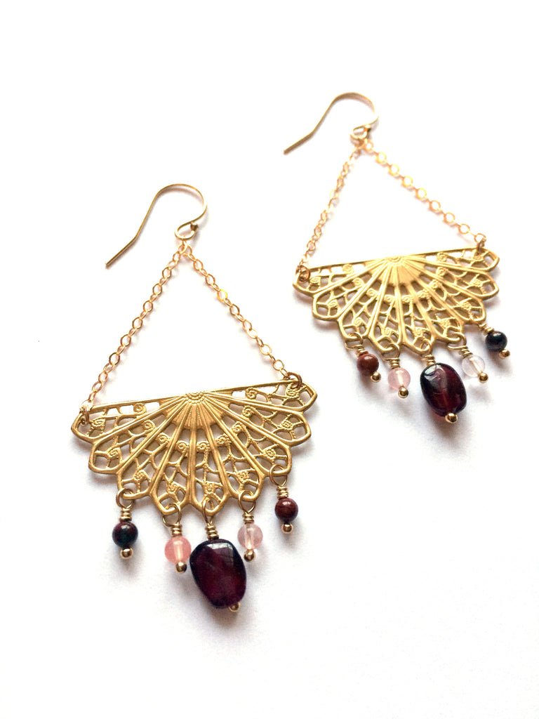 Mandala earrings, brass and gold fill, gemstones - Dancing Moon