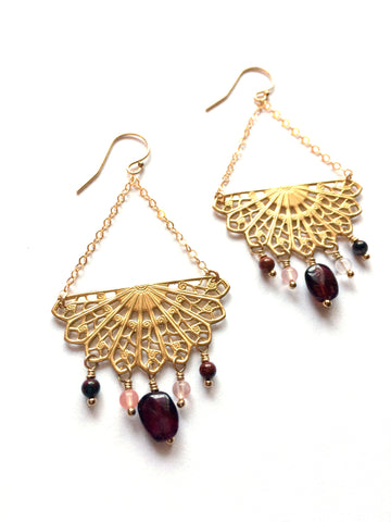 Mandala earrings, brass and gold fill, gemstones - Dancing Moon - 1