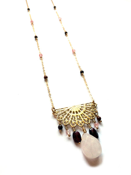 Mandala necklace, long bohemian style, gemstones, yoga jewelry - Dancing Moon - 1