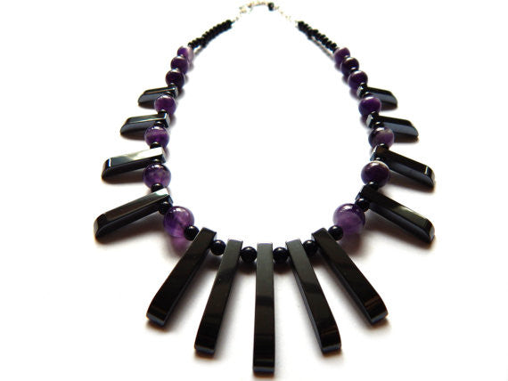 Tribal Statement Necklace, Amethyst, Hematite, and Blue Goldstone, Sterling Silver