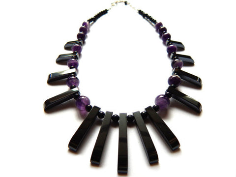 Tribal Statement Necklace, Amethyst, Hematite, and Blue Goldstone, Sterling Silver - Dancing Moon