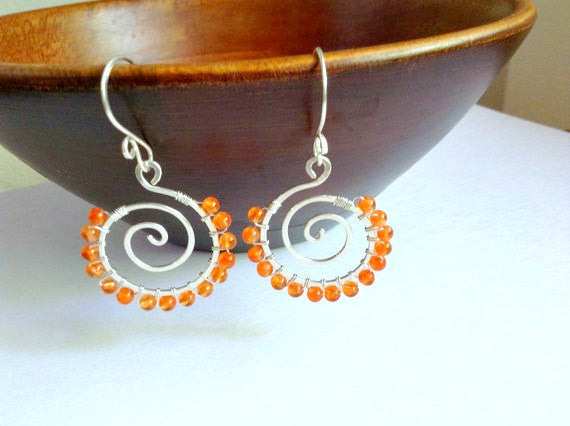 Carnelian gemstone wire wrapped sterling silver spiral earrings - Dancing Moon