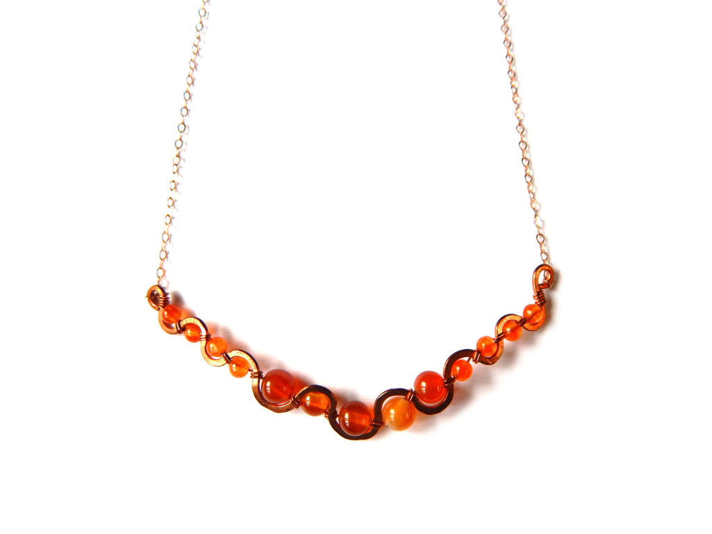 Carnelian, Agate and Copper with 14k Rose Gold Fill chain, Handmade Stream Necklace - Dancing Moon