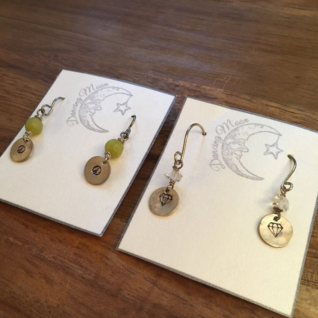 Hand Stamped earrings, Limited edition, sale