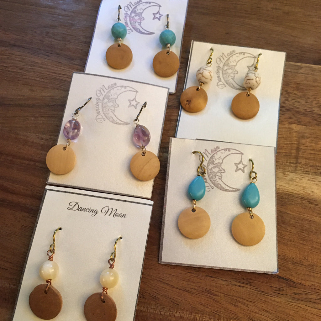 Wood and gemstone earrings, limited edition, sale!
