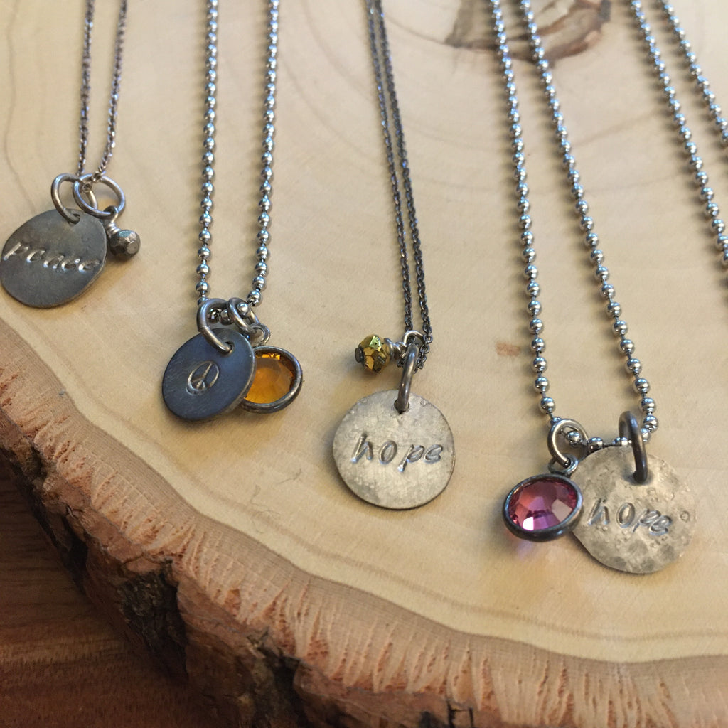 Hand Stamped Necklaces, Limited edition, Sale!