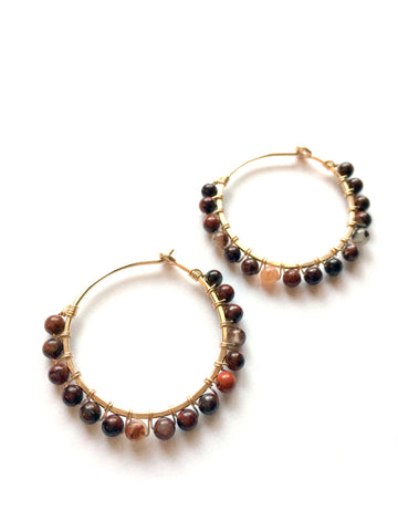 Hoop earrings, Red jasper gemstones, yoga jewelry - Dancing Moon