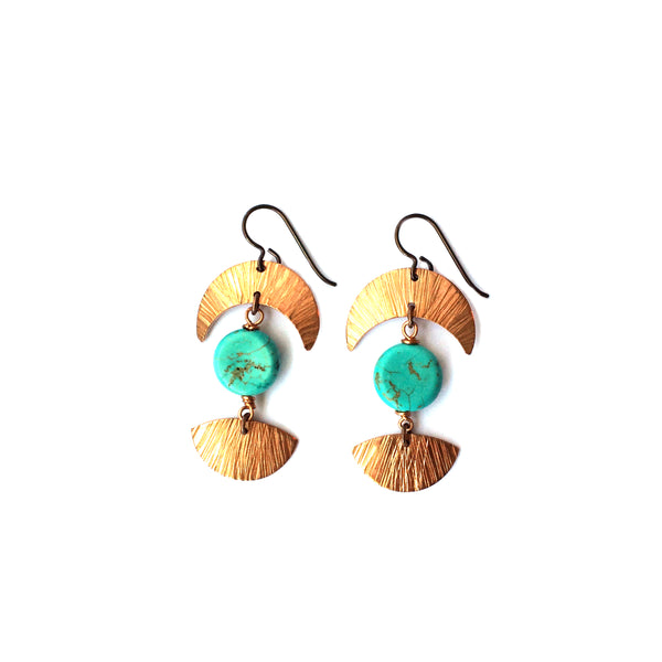 Moon Phase Earrings, Copper and Magnesite - Dancing Moon