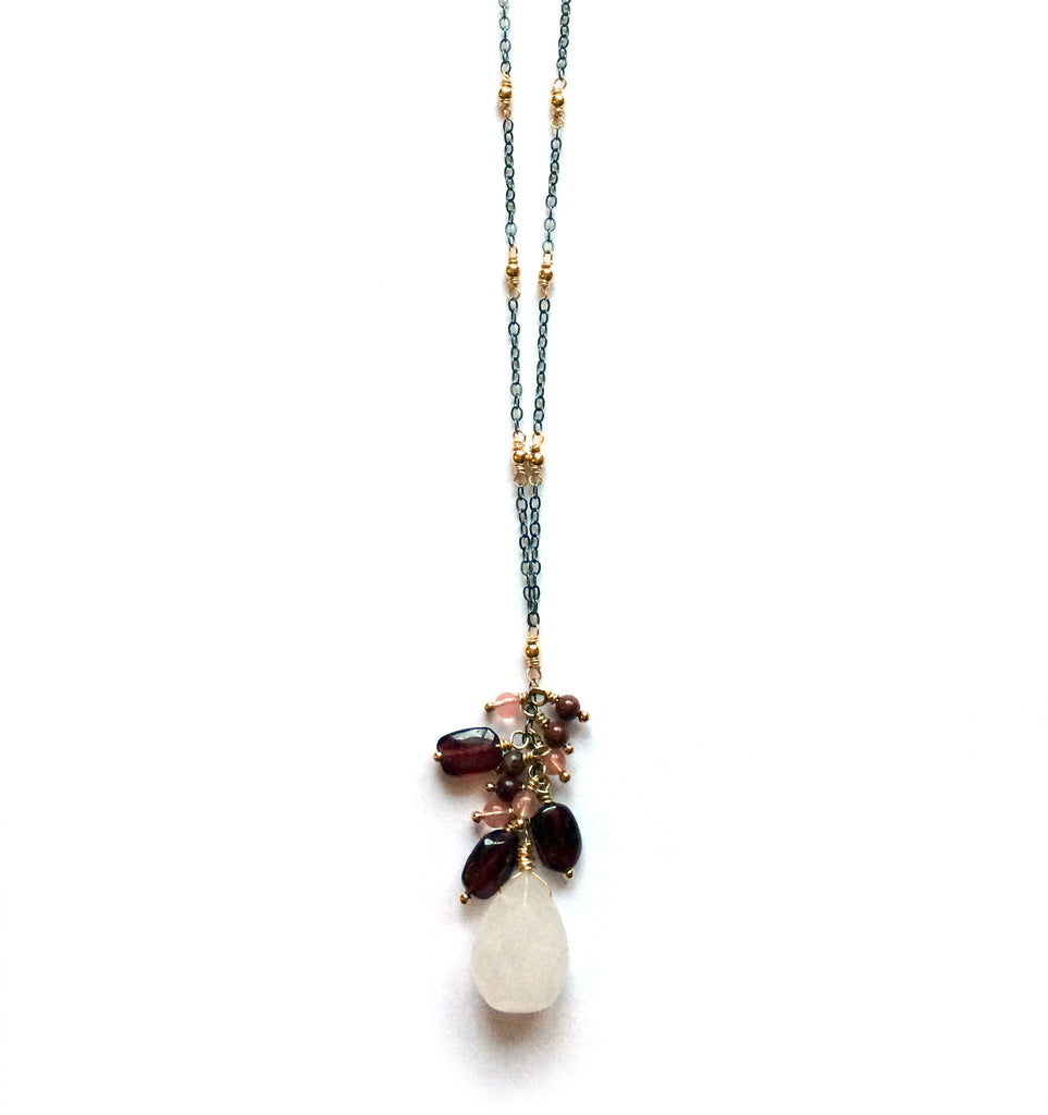 Cascading gemstone necklace, yoga jewelry - Dancing Moon - 2