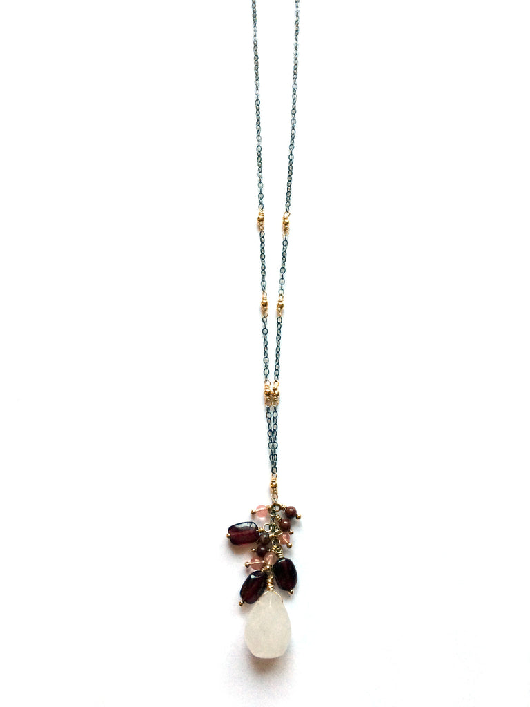 Cascading gemstone necklace, yoga jewelry - Dancing Moon