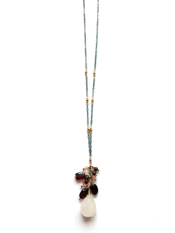 Cascading gemstone necklace, yoga jewelry - Dancing Moon - 1