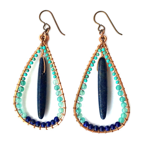 Blue Raindrop Earrings, solstice goddess earrings, bohemian tribal - Dancing Moon