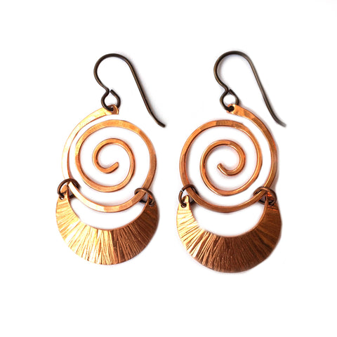 Crescent Moon Spiral Earrings, Handmade Bohmeian - Dancing Moon