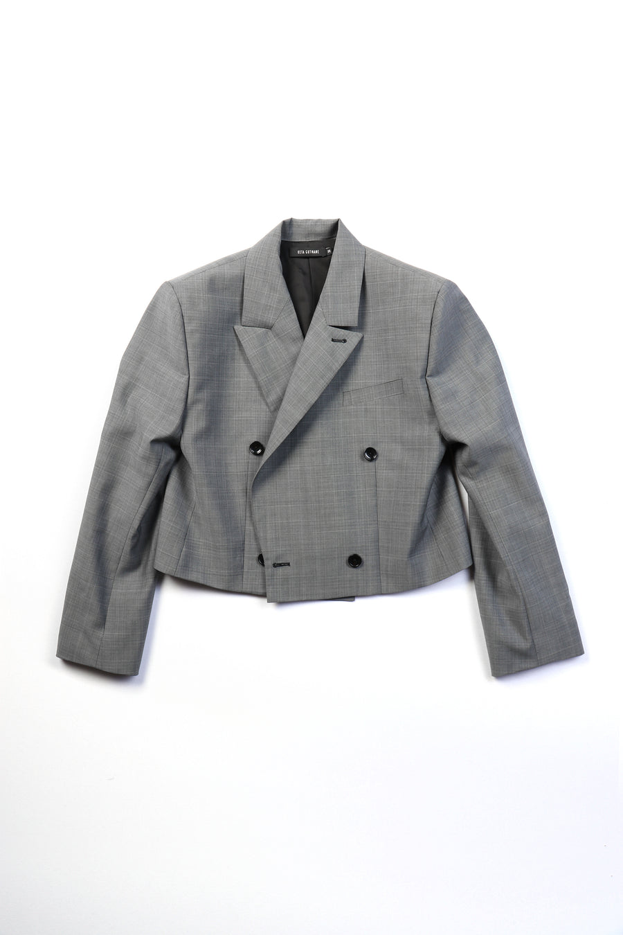 CROPPED GREY SUIT JACKET