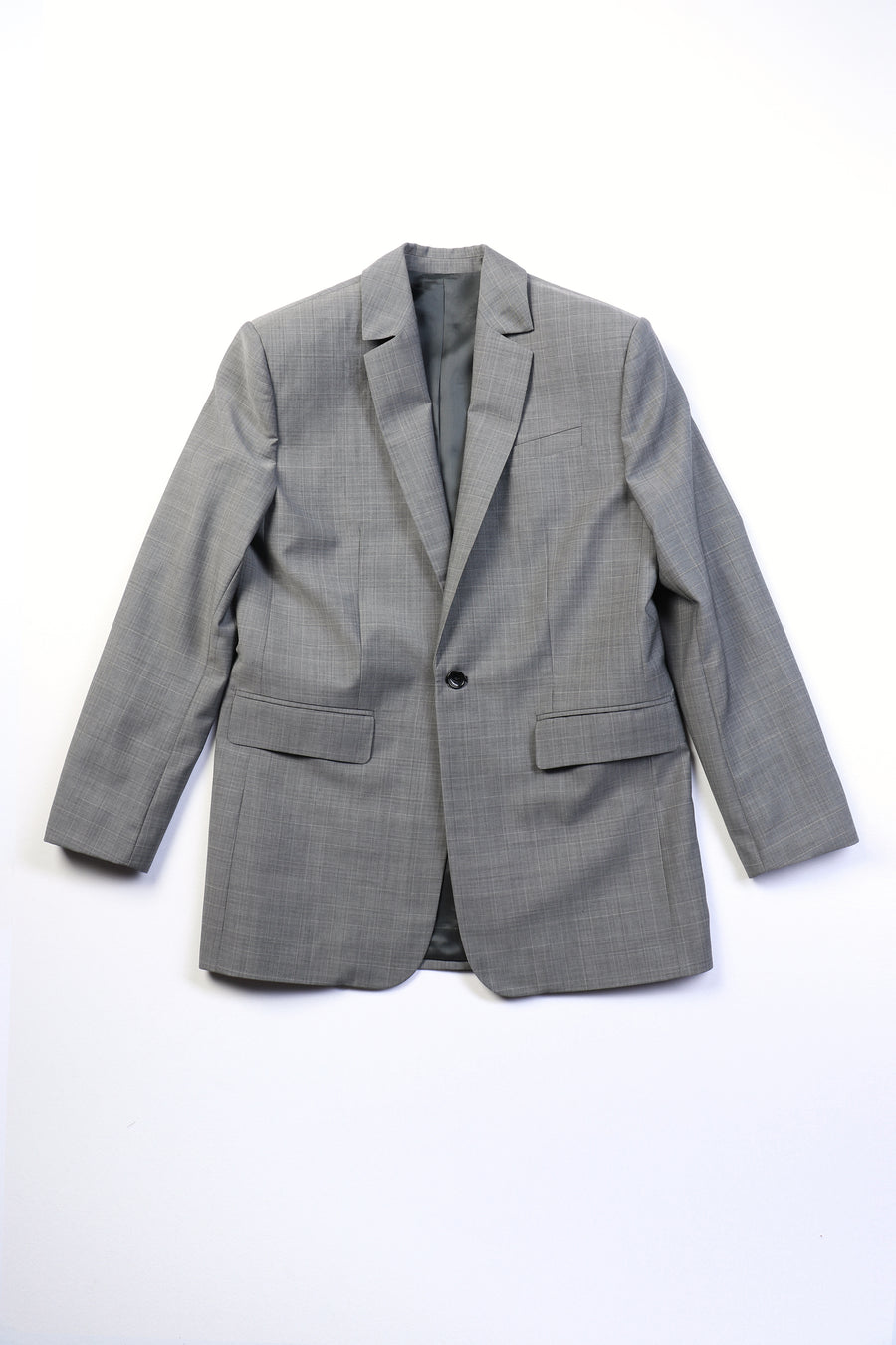 GREY OVERSIZED SINGLE BREASTED BLAZER
