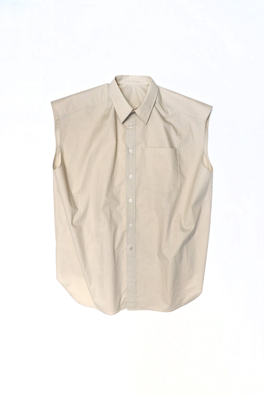BEIGE WIDE SHOULDER SHIRT
