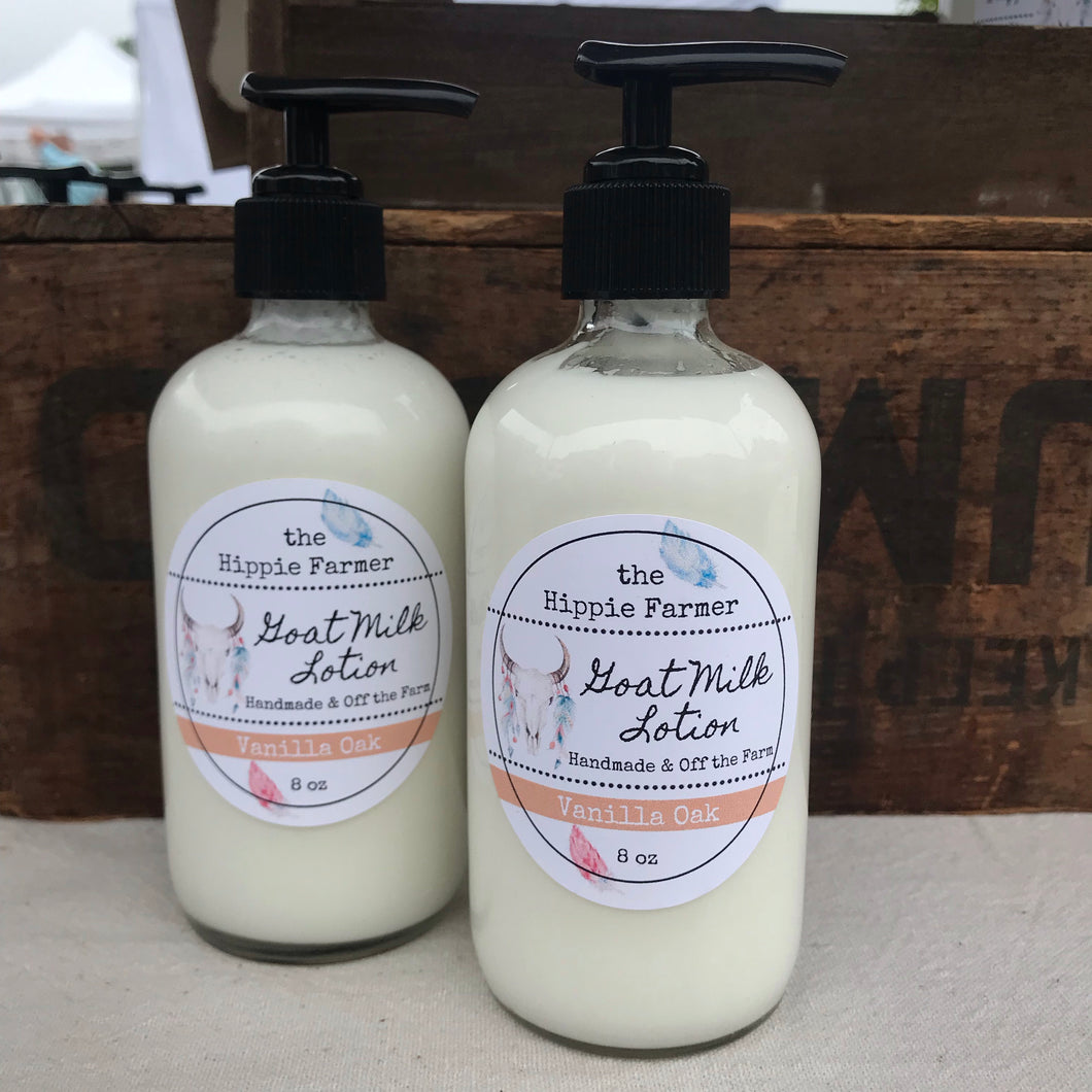 Goat Milk Lotion - Vanilla Oak - 8oz Glass Pump Bottle or 4oz Jar