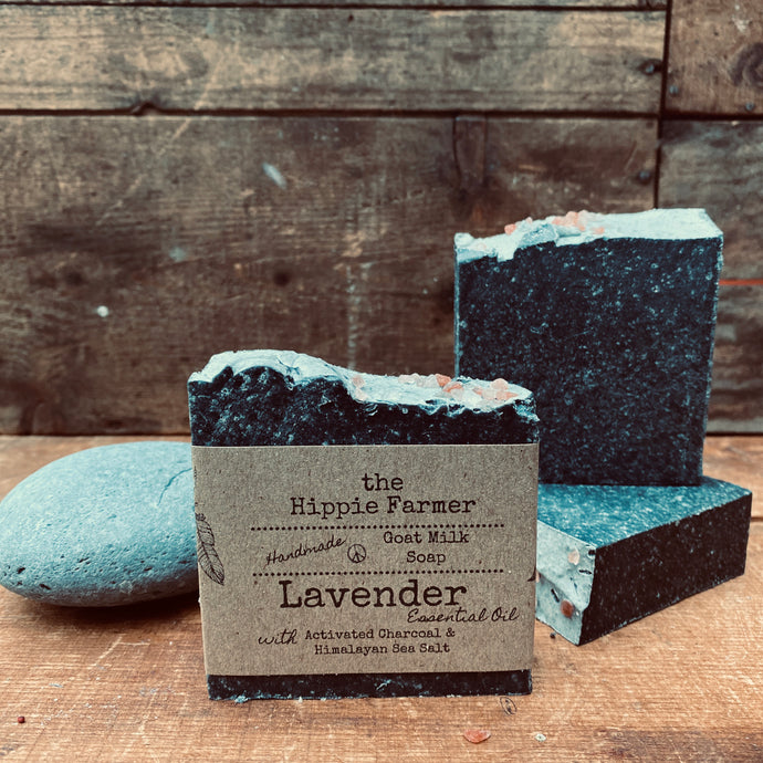 Goat Milk Soap - Lavender EO, Pink Sea Salt & Activated Charcoal