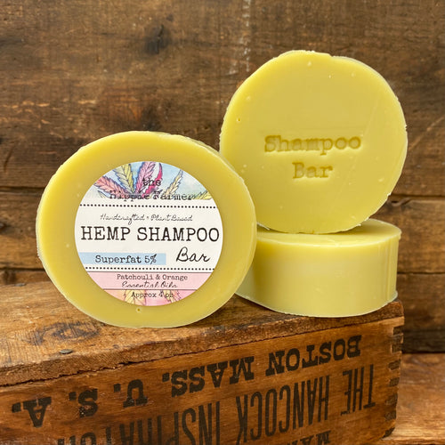 Hemp Shampoo Bar 5% Superfat - Patchouli Orange Essential Oils - 4oz