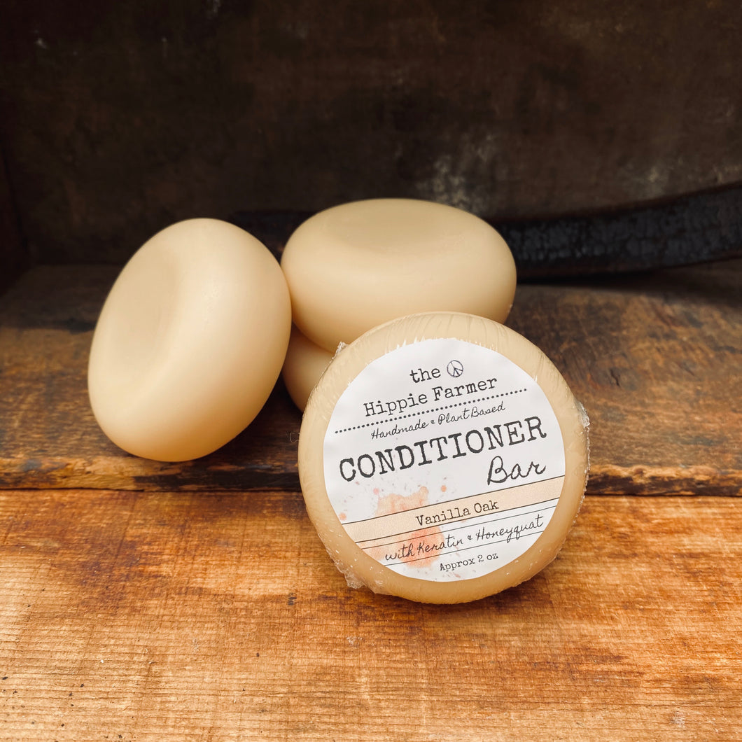 Solid Conditioner Bar with Keratin & Honeyquat- Vanilla Oak 2oz