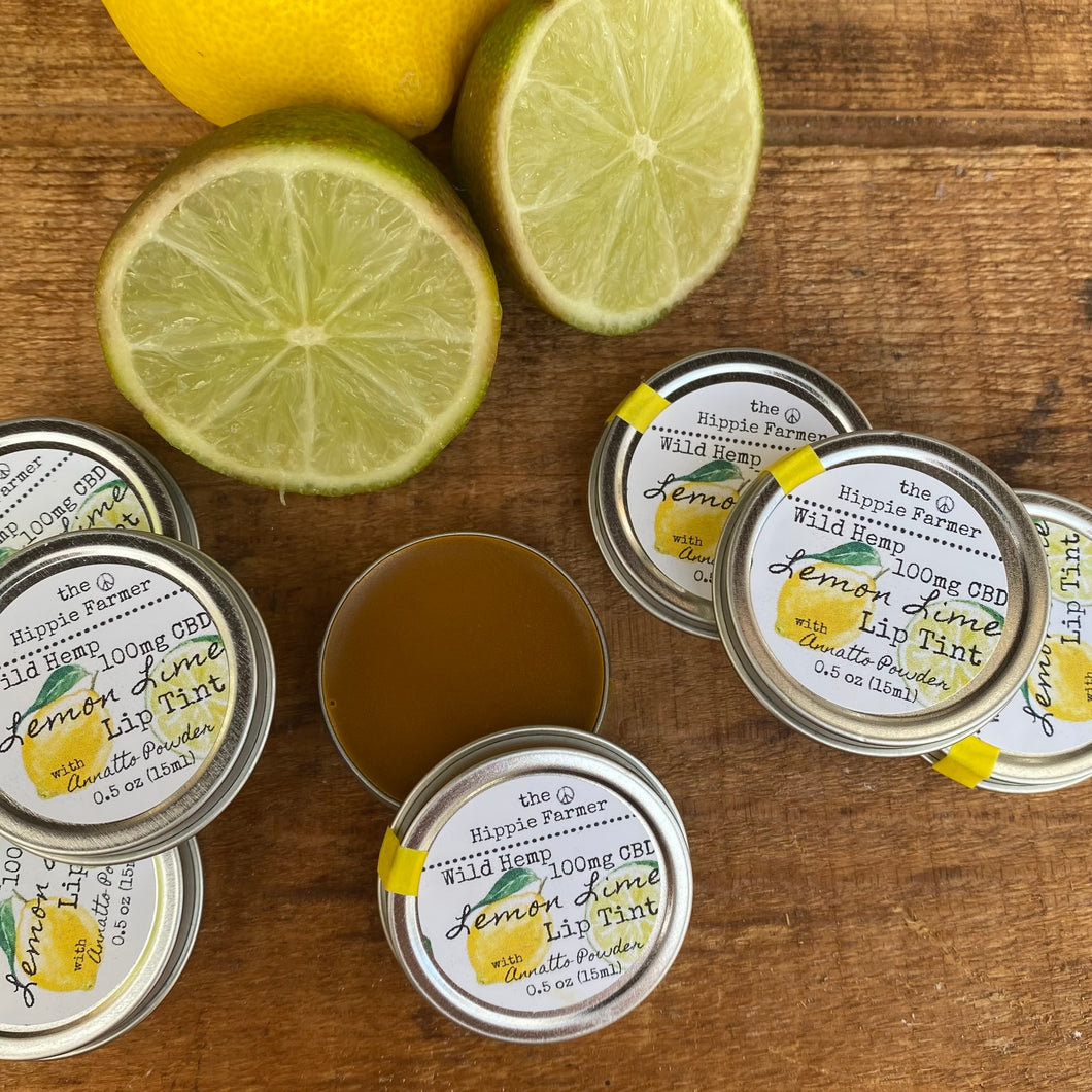 Wild Hemp Lip Balm 100 - 0.5oz Tin - Lemon Lime EO with Annatto Powder Tinted