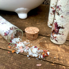 Load image into Gallery viewer, Bath Salts - Goat Milk & Dried Roses - 55ml Glass Tube