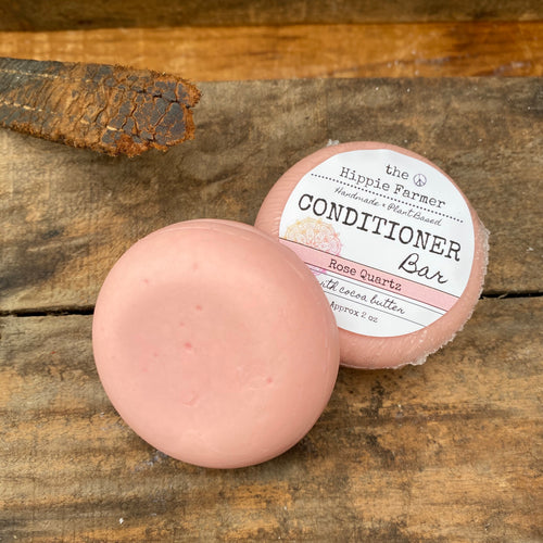 Natural Solid Conditioner Bar - with Cocoa Butter or with Keratin & Honeyquat- Rose Quartz 2 oz