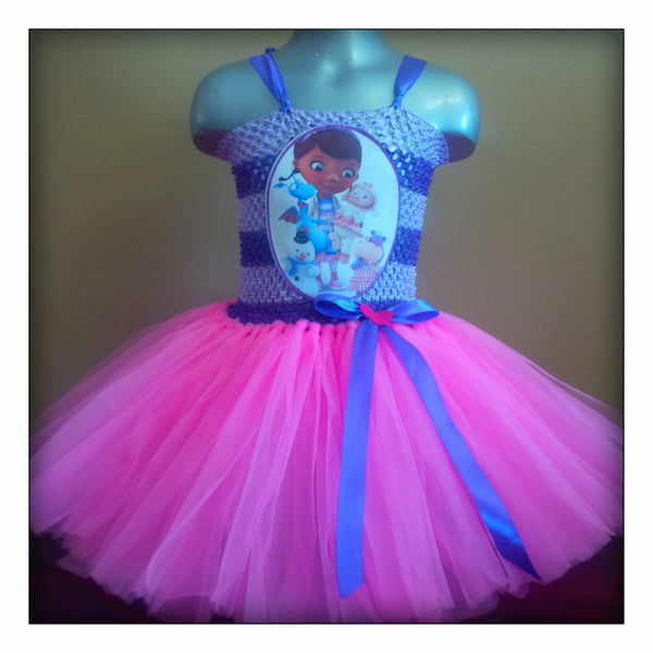 Tutu dress themed character doc mcstuffins with printed picture