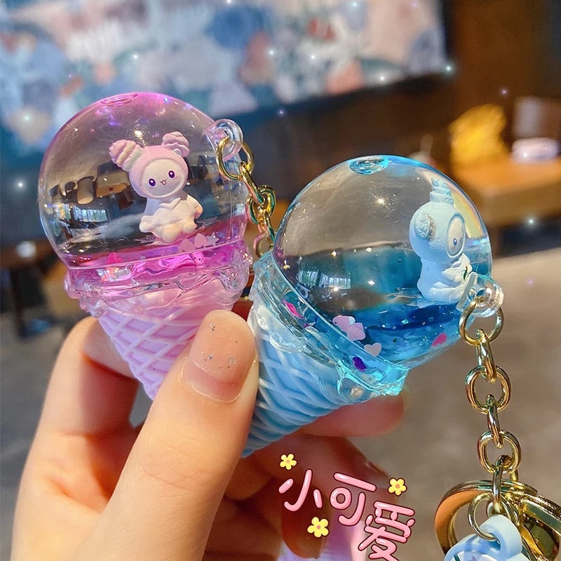 Floating Crystal Ice Cream Keychain