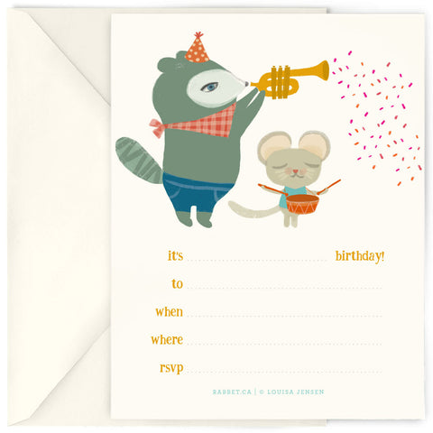 <em>Birthday music</em> invites