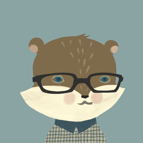<em>Hipster squirrel</em> art print
