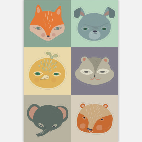 <em>Animal heads</em> stickers