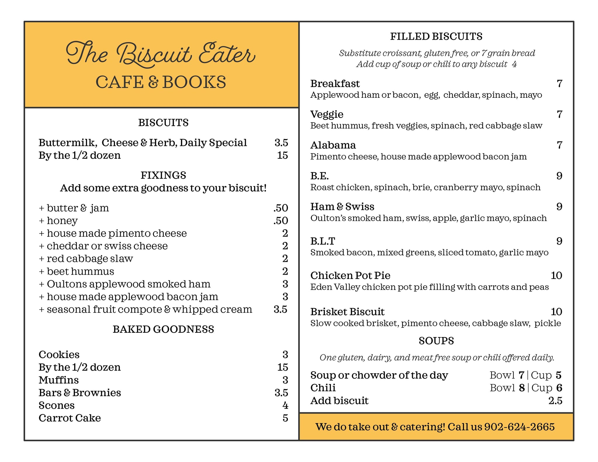The Biscuit Eater Cafe & Books Menu